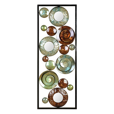 Blue & Brown Circles Metal Plaque