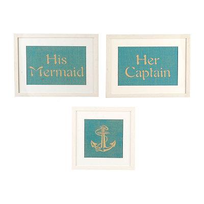 His & Her Coastal Framed Prints, Set of 3