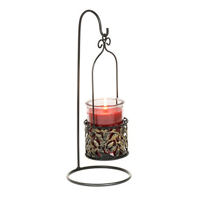 Black Leaf Hanging Jar Candle Holder