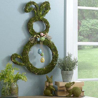 Pre-Lit Moss Easter Bunny Wreath