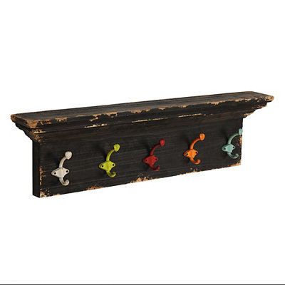 Distressed Black Shelf with Multicolor Hooks
