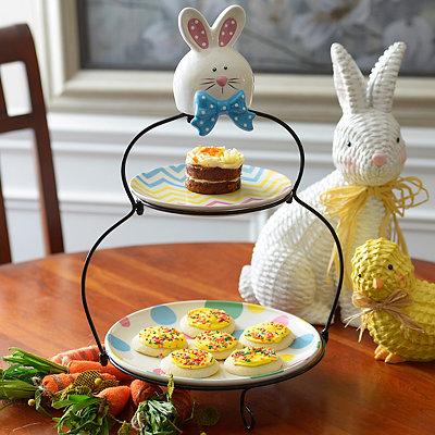Easter Bunny 2-Tier Serving Set