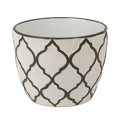 Cream Quatrefoil Planter, 10 in.