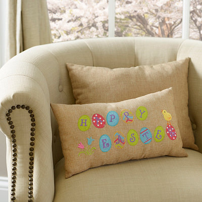 Happy Easter Burlap Pillow