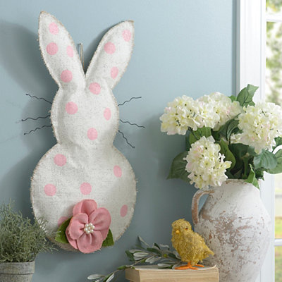 Pink Polka Dot Bunny Burlap Wall Hanger