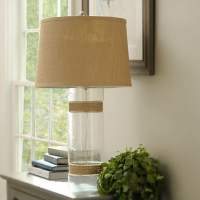Rope-Wrapped Glass Barrel Table Lamp