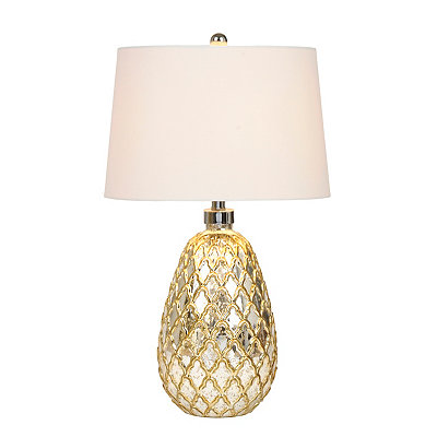 Round Diamond Mercury Glass Table Lamp