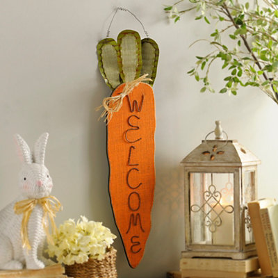 Burlap Carrot Door Hanger