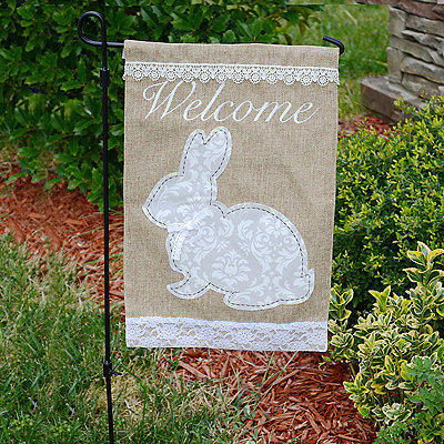 Damask Easter Bunny Burlap Flag