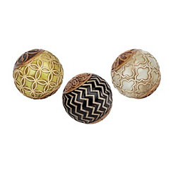 Black and Green Medallion Orbs, Set of 3