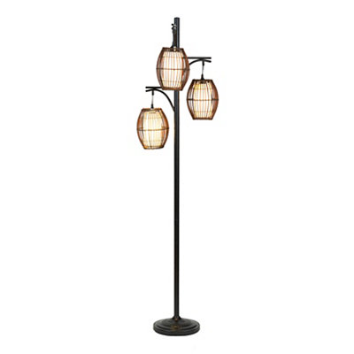 Bronze Triple Wicker Floor Lamp