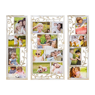 White Scrolling Vine Collage Frames, Set of 3
