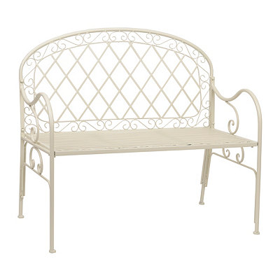 Cottage White Metal Bench