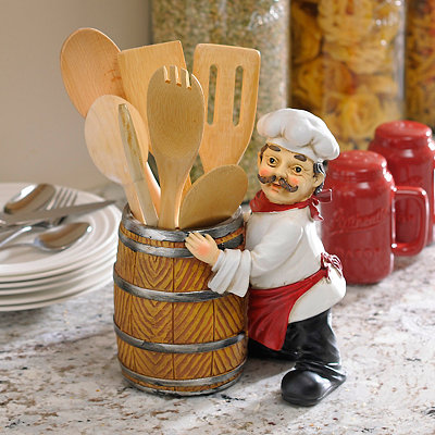 Chef and a Barrel Utensil Holder
