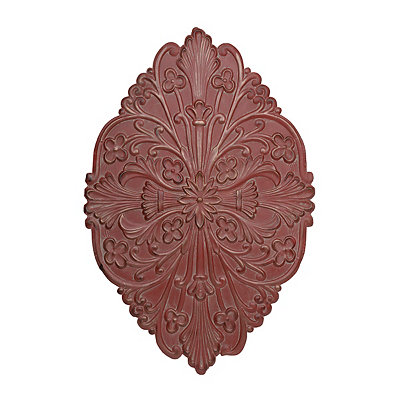 Red Floral Medallion Metal Plaque