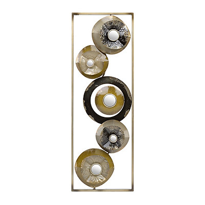 Neutral Layered Circles I Metal Plaque