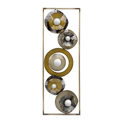 Neutral Layered Circles II Metal Plaque