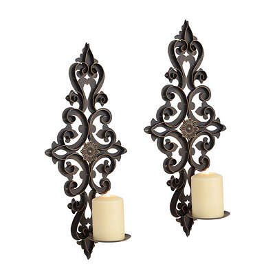 Valery Bronze Scroll Sconces, Set of 2