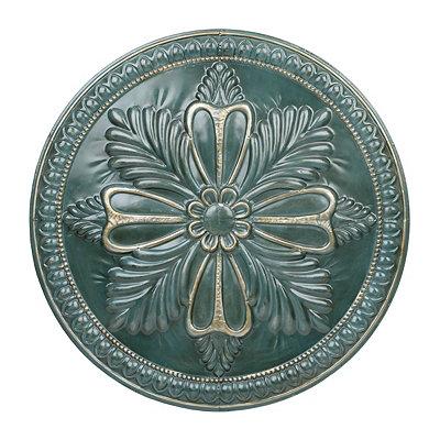 Teal Fleur Round Metal Plaque