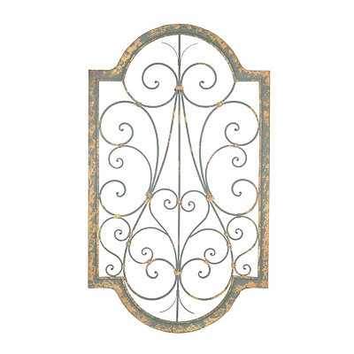 Distressed Gray Scroll Metal Wall Plaque