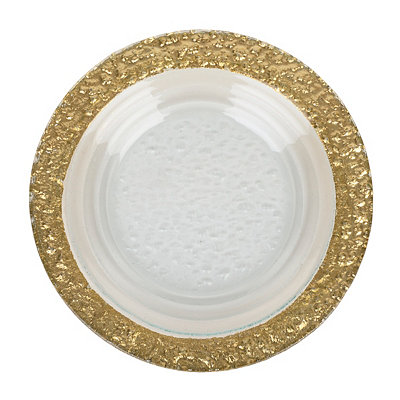 Round Hammered Gold Glass Platter