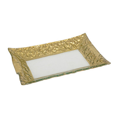 Rectangular Hammered Gold Glass Platter