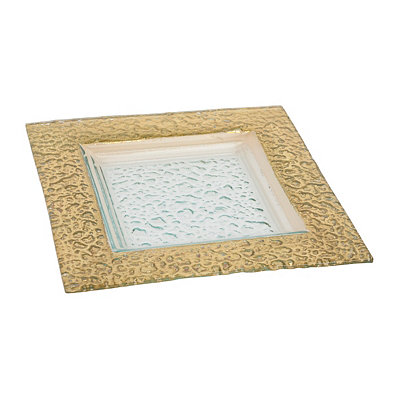 Square Hammered Gold Glass Platter