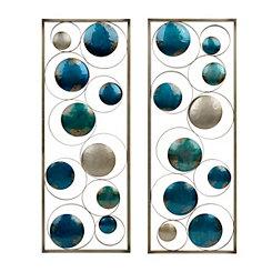 Blue Circles Metal Plaques, Set of 2