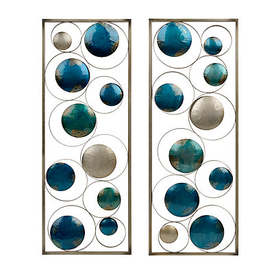 Blue Circles Metal Plaques, Set of 2