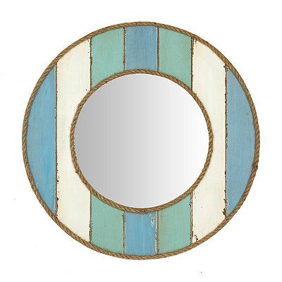 Seaside Blue Round Framed Mirror, 23.5 in.