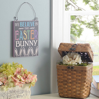 We Believe In The Easter Bunny Wooden Sign