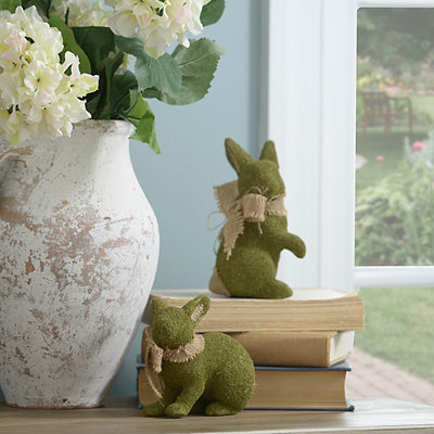 Moss Easter Bunnies Statues, Set of 2