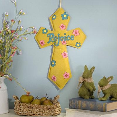 Happy Easter Glitter Burlap Cross