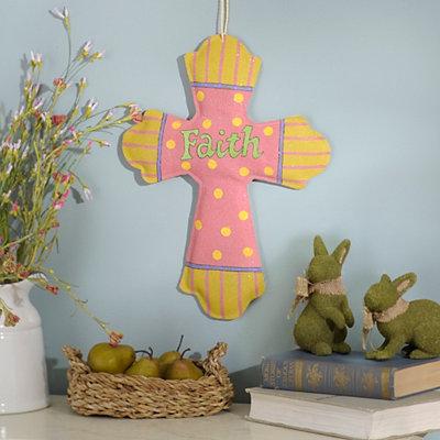 Rejoice Glitter Burlap Cross