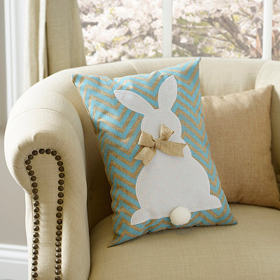 Aqua Chevron Easter Bunny Burlap Pillow
