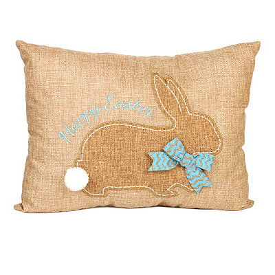 Stitched Easter Bunny Burlap Pillow