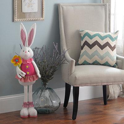 Plush Easter Bunny Girl Statue