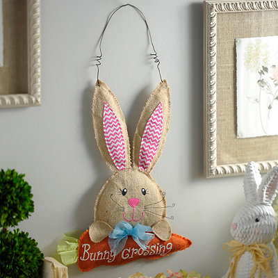 Burlap Easter Bunny Crossing Wall Hanger