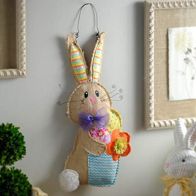 Burlap Easter Bunny With Basket Wall Hanger