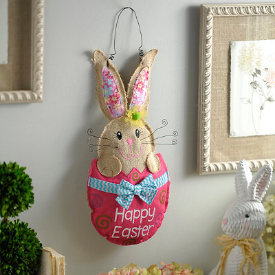 Burlap Easter Bunny With Egg Wall Hanger