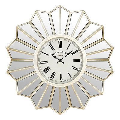 Silver Mirrored Burst Clock