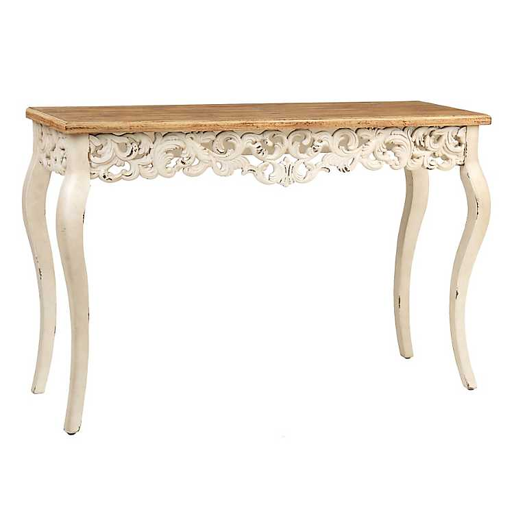 Ivory baroque console table kirklands for Sofa table kirklands