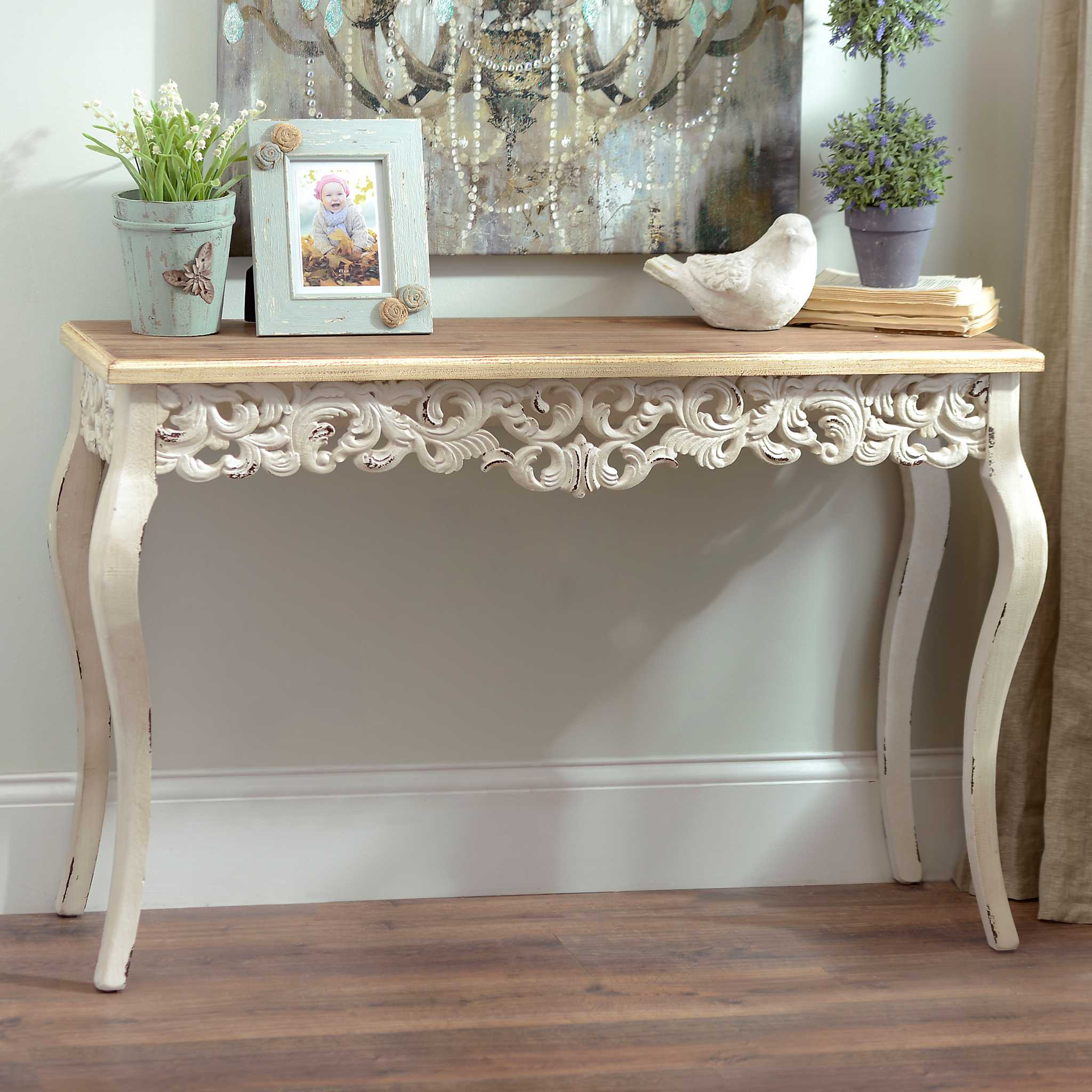 Ivory baroque console table kirklands - Ornate hall table ...