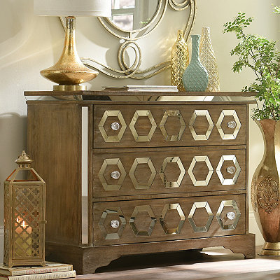 Natural Weathered Mirrored 3-Drawer Chest