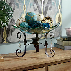 Oversized Glass Bowl with Jeweled Stand