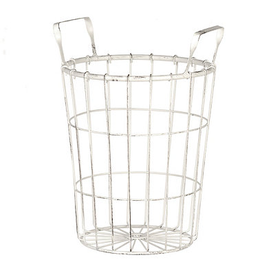 Distressed Cream Wire Basket, Small