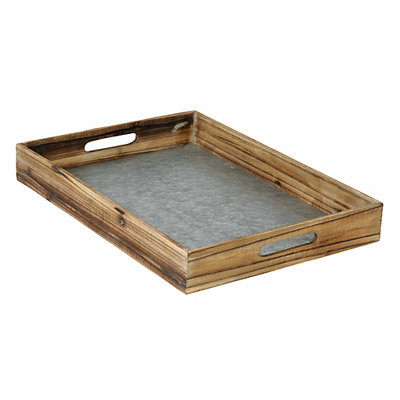 Wood & Galvanized Metal Tray