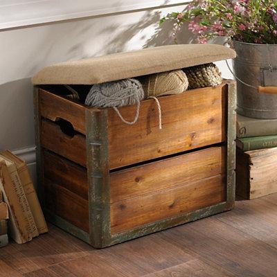 Wooden Crate Storage Ottoman