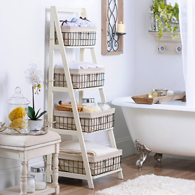 Cream Wood & Metal Ladder Shelf