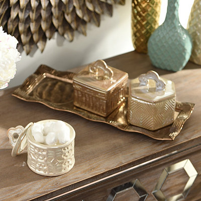 Metallic Ceramic Jars with Tray, Set of 3